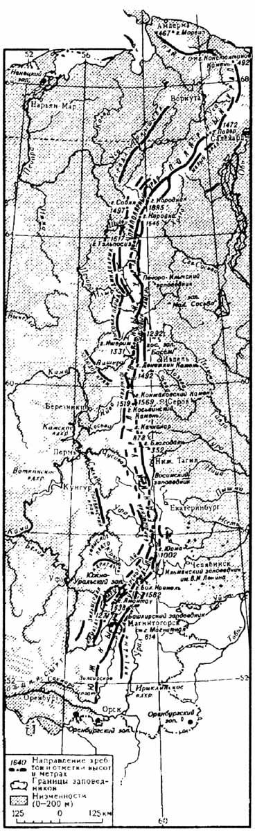 Орографическая схема Урала